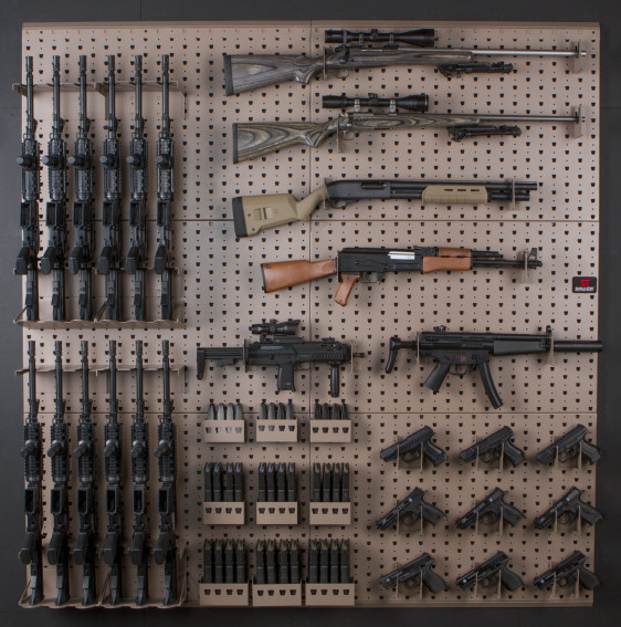 Wall mounted gun racks and storage system