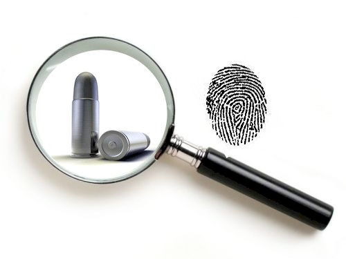ballistic fingerprinting- <B><I>identification of the gun that fired a bullet from an analysis
